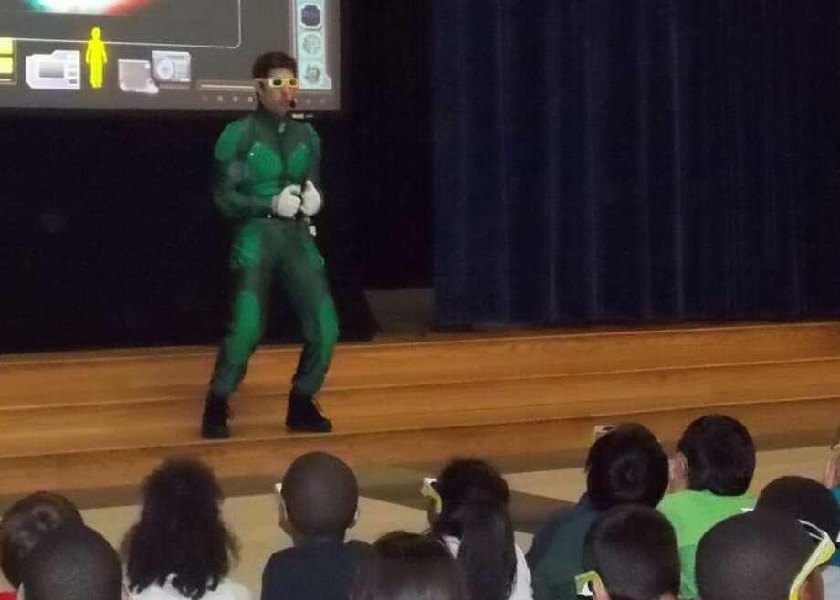 Kid Power addresses students at Schiff Elementary School.
