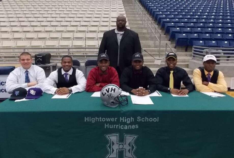 Hightower High School athletes Layden Johnson, Jaquinn Henderson, Brian Smith, Joshua Price, Kelsey Douglas and Terrell Brown with Coach Padriac McGinnis.