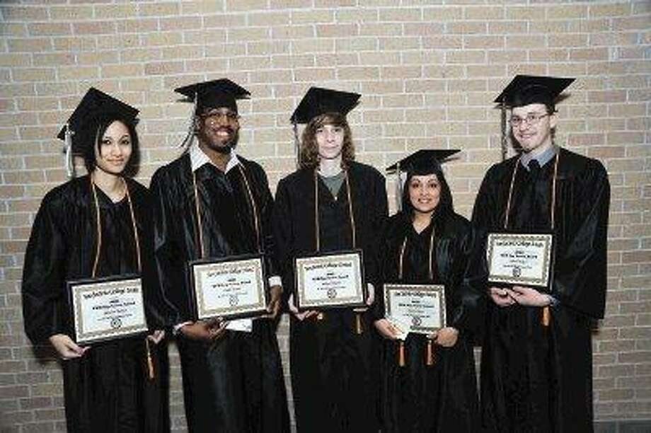The top graduates who recently earned GED certificates from San Jacinto College include, from left, Monecia Thomas (South campus), Cedric Brooks (North campus), William Scheeler (Central campus), Jessica Mares (North campus), and Justin Weikel (South campus). / @WireImgId=1159168