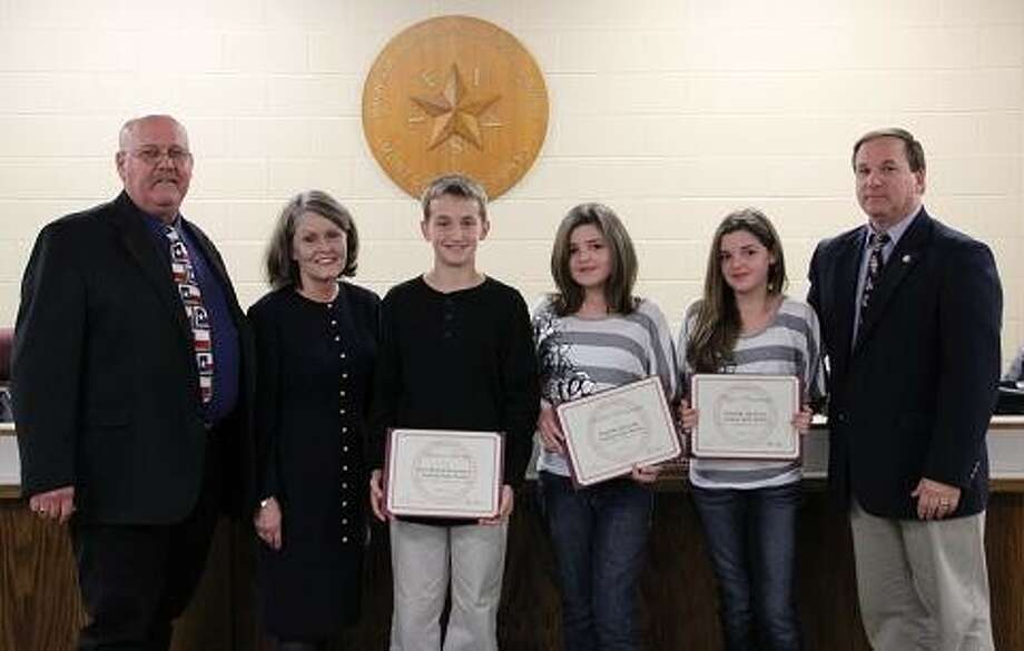 Lawson Lowry, a fifth grade student at Bear Branch Elementary, and Kendall and Ryan Rummage, students at Magnolia Sixth Grade Center, were recently recognized as the MISD Students of the Month for February. Photo: MISD