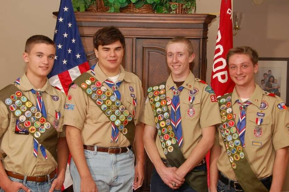 Eagle Scouts, from left, John Willis, Patrick McMillan, Jarred Buck and Nolan Navarre were recently were recognized at a combined Eagle Scout Court of Honor on Feb. 2 in the Mary Chapel at Prince of Peace Catholic Community. All four boys are also members of Crew 928. Photo: Submitted