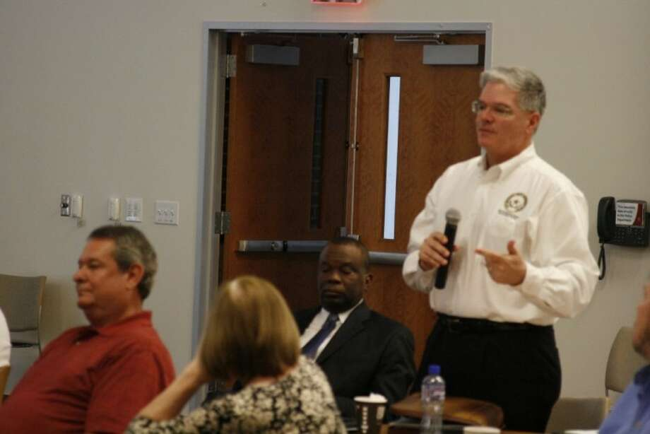 East Montgomery County Improvement District President Frank McCrady discusses several issues during the Community Planning Summit March 1.