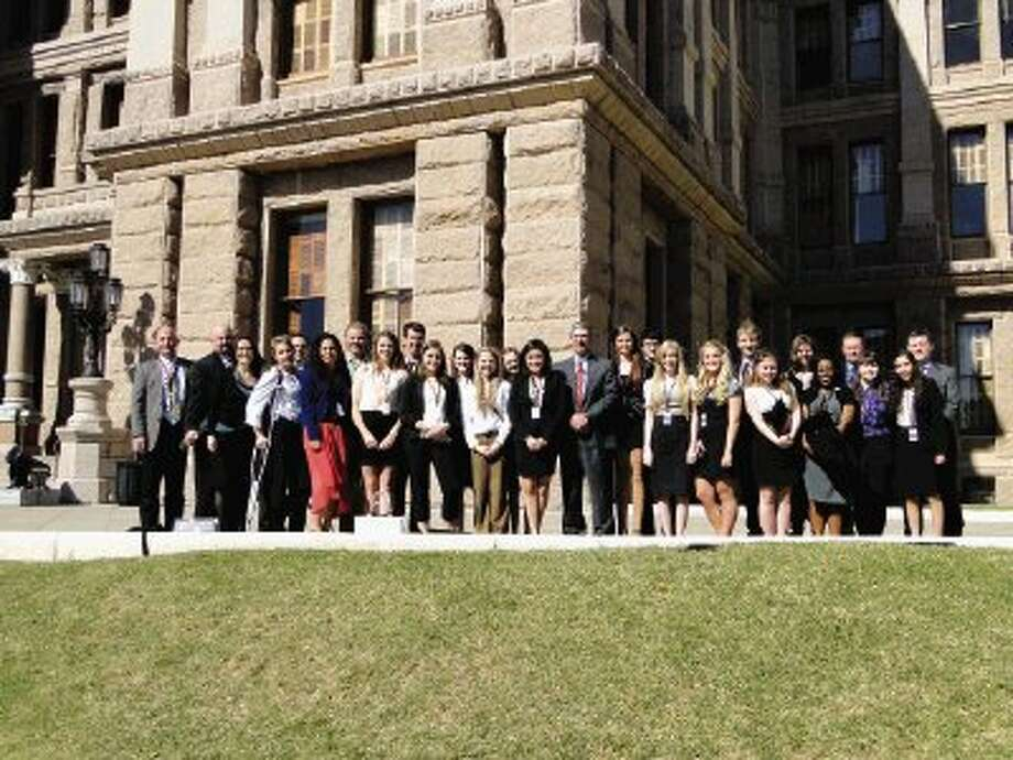 MISD Student Leadership members, State of Texas House members and teachers outside the capital building in Austin.