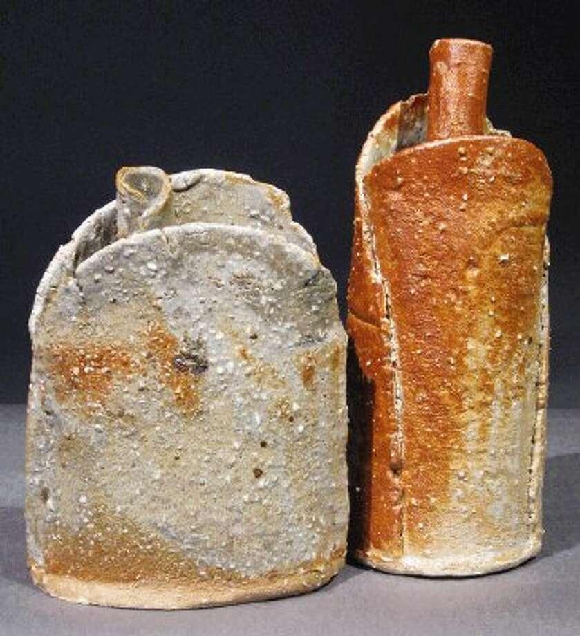 Ceramic art titled 'Bottles' by artist Nancy Liebes.