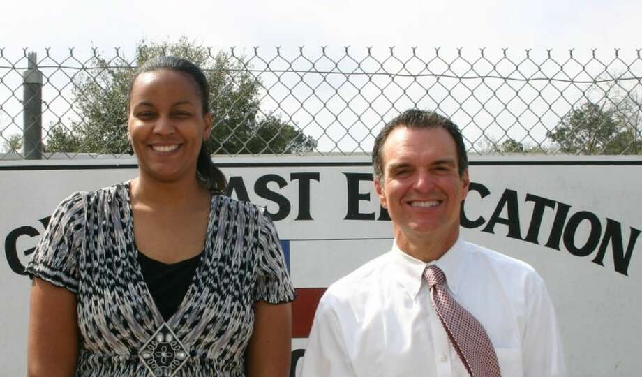 Djara Patton and Jim Young are, respectively, the assistant principal and principal of the Gulf Coast Educational Consortium. Photo: STEPHEN THOMAS