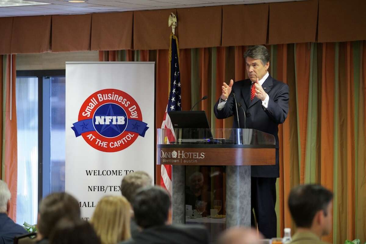 Gov. Rick Perry speaks at the National Federation of Independent Business (NFIB) Small Business Legislative Discussion and Roundtables, highlighting his priorities to keep Texas on an upward trajectory by strengthening the state's competitive jobs climate and calling on the Legislature to provide tax relief, invest in infrastructure, and improve access and choice in both public and higher education.