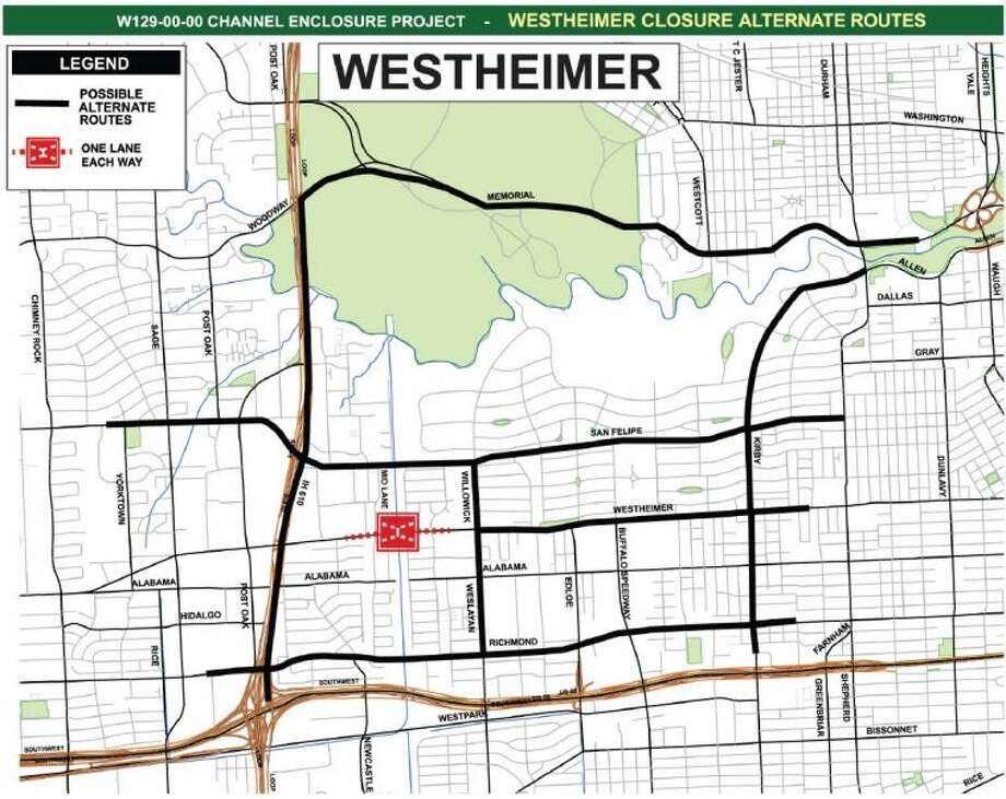 Alternate routes to avoid the closure of the Westheimer bridge closure include West Loop 610, Memorial Drive, San Felipe Street, Richmond Avenue or Kirby Drive.
