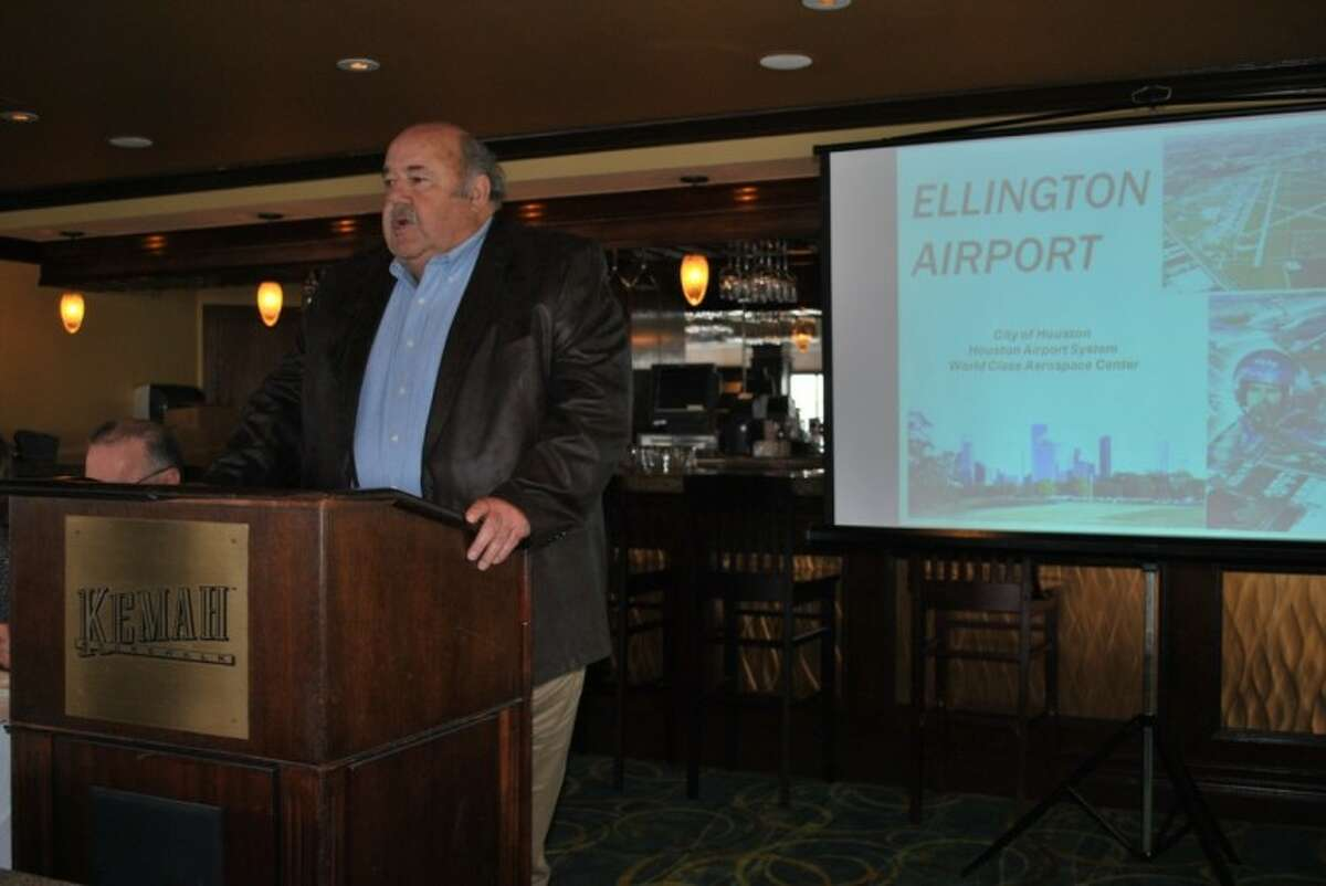 Ellington Airport GM Brian Rinehart gave an update on developments at the airfield at the Clear Lake Area Chamber luncheon Wednesday, Feb. 29.