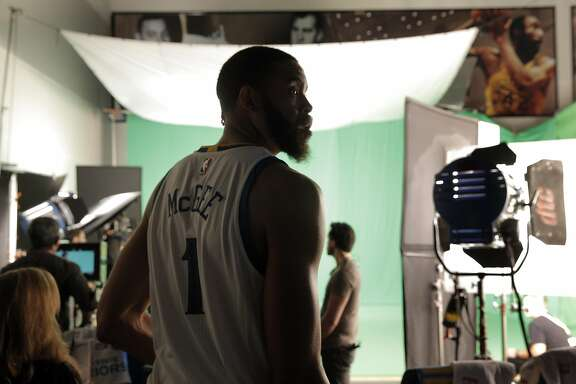JaVale McGee waits for a video session during Warriors Media Day at their practice facility in Oakland, Calif., on Monday, September 26, 2016.