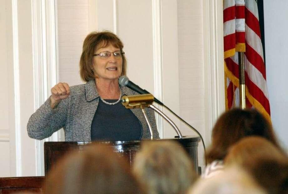 Former NRA president Sandy Froman addresses the Village Republican Women. Photo: Rusty Graham