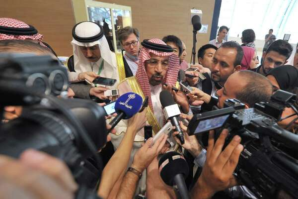 Khalid Al-Falih Minister of Energy, Industry and Mineral Resources of Saudi Arabia answers questions as part of the 15th International Energy Forum Ministerial meeting in Algiers, Algeria, Tuesday, Sept. 27, 2016. At meetings in Algeria this week, energy ministers from OPEC and other oil-producing countries are discussing whether to freeze production levels to boost global oil prices.