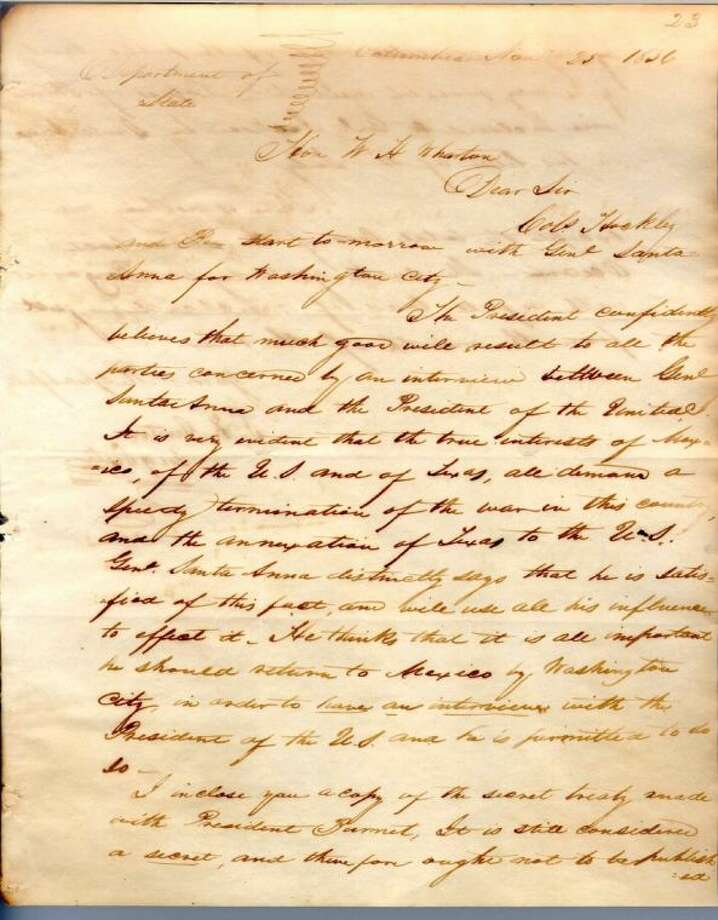 Stephen F. Austin to William H. Wharton, November 25, 1836, stating that Santa Anna has left for Washington, D.C. and that copies of the public and secret versions of the Treaty of Velasco are enclosed.