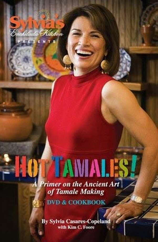 Sylvia Casares, as she appears on the cover of her tamale cookbook and DVD.