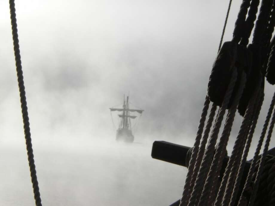 Fog partially shrouds the view of the Santa Maria.