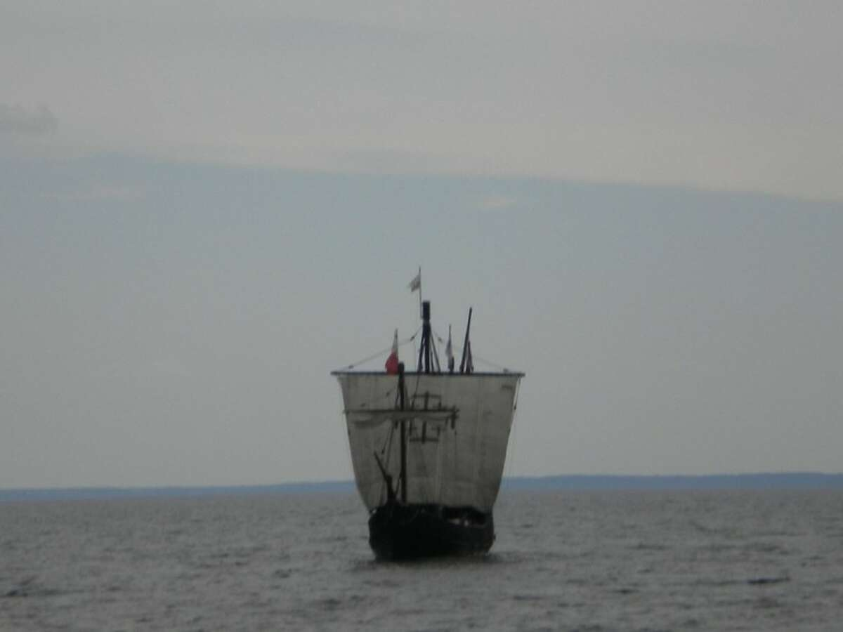 For The CitizenOne of the Columbus replica ships approaches the harbor.