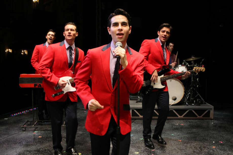 "Pictured from left are ""Jersey Boys"" Jason Kappus, Colby Foytik, Brad Weinstock and Brandon Andrus. Photo: Joan Marcus"