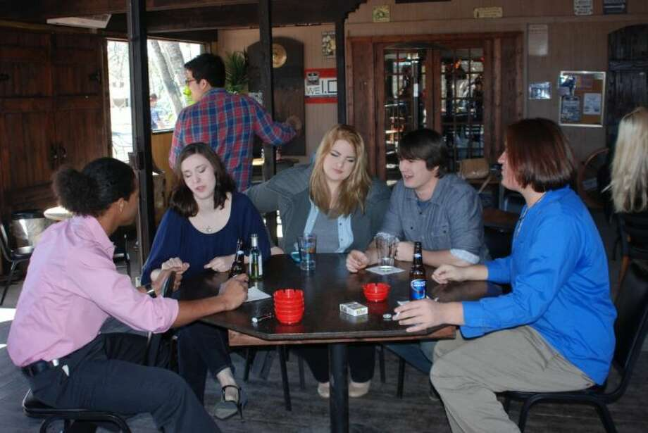 Shown from left to right, actors Chris St. Mary, Erin Thompson, Christal Palladino, Corey Thompson and Anthony Ramirez on set in February.