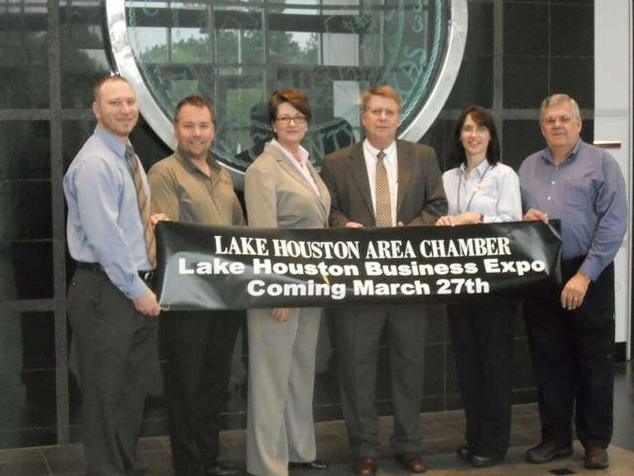 From left, Expo team members Jason Waggoner - Acutraq, Johnnie Ray Scroggins - Humble Civic Center, Trish B. Helmerich and Charlie Dromgroole - Lake Houston Area Chamber, Denise Krieger - Memorial Hermann Surgical Hospital, and Tony Austin - Town Center Park Association are preparing for the first Lake Houston Business Expo March 27.