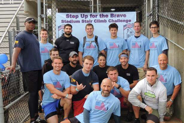 The BUD/S and Beyond stair climb team from Greenwich; a conditioning, leadership and preparation program for those entering the Marines and Navy.