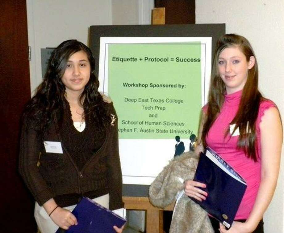 """Arleni Gomez (left) and Carly Anderson (right), members of Shepherd High School's Family, Career and Community Leaders of America organization, attended the """"Etiquette + Protocol = Success"""" seminar at Stephen F. Austin State University on Monday, March 8. While at the seminar, Gomez and Anderson attended sessions related to career and work success as well as appropriate etiquette and protocol."""