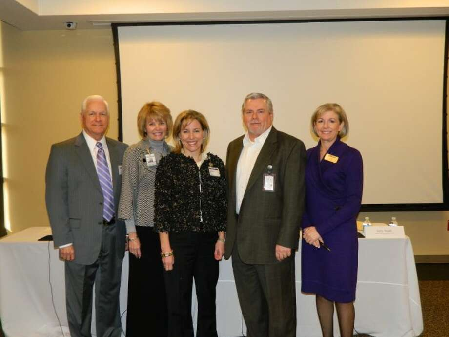 The Leadership Montgomery County Class of 2013 recently explored health care in Montgomery County at the Healthcare Session, sponsored by St. Luke's The Woodlands Hospital. The session featured speakers from hospitals, clinics and other healthcare organizations across the county. Pictured, left to right, are members of the hospital CEO panel: Steve Sanders, CEO of Memorial Hermann The Woodlands Hospital; Melinda Stephenson, CEO of Kingwood Medical Center; Debbie Sukin, CEO of St. Luke's The Woodlands and St. Luke's Lakeside Hospitals; Jerry Nash, CEO of Conroe Regional Medical Center; and LMC Chairman of the Board Linda Nelson, of Memorial Hermann The Woodlands Hospital. For more information about Leadership Montgomery County, visit LMCTX.org.