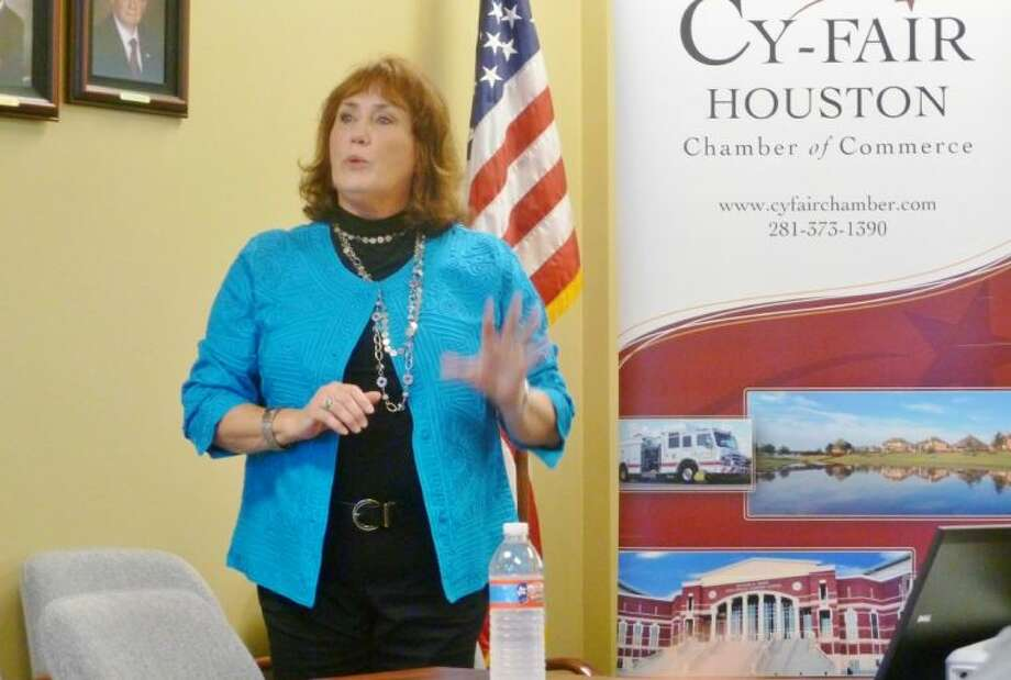 Linda Merritt, a spokesperson with Zachry Odebrecht updates Cy-Fair Houston Chamber members on the Grand Parkway.