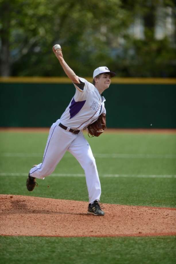 Kinkaid senior Duncan Robinson shut out Second Baptist on two hits Saturday at Sanders Field. Robinson, a Dartmouth signee, worked with future Richmond University catcher Mike Levine on the dominant victory. Photo: Kevin B Long
