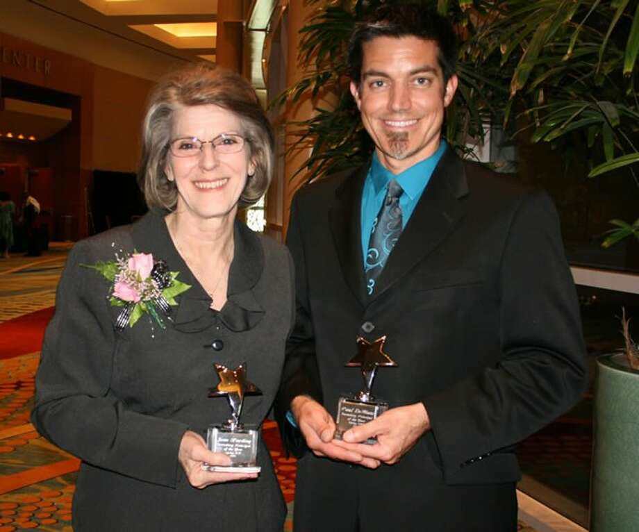 The Spring ISD 2013 Principals of the Year are, from left, Joan Harding, Burchett Elementary School, and Paul LeBlanc, Dueitt Middle School.