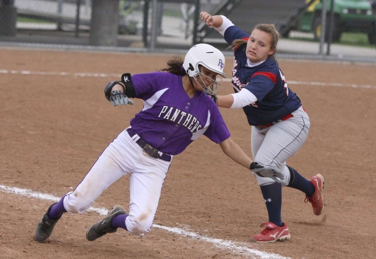 Ridge Point's Kayla Lahrman had three hits, two RBIs, one stolen base and three runs scored in Thursday's win over Houston Waltrip. The Lady Panthers lead the best-of-three playoff series, 1-0.(Photo by Alan Warren)