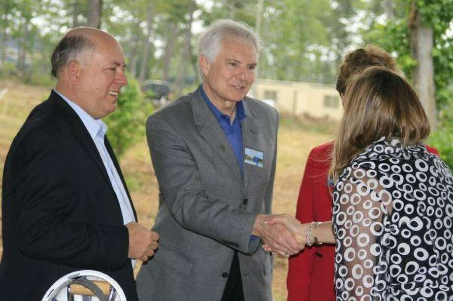Featured guests had the chance to socialize and greet one another after the ground breaking ceremony of the Lone Star College-Atascocita Center April 30.