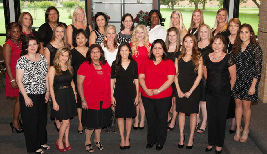 Graduates from the WCJC Associate Degree Nursing Program include pictured first row left to right include: Diana Amaya of Richmond, Selina Franco of Houston, Lidia Perez of El Campo, Jonelle Garcia of Wharton, Dorothy Garcia of Needville, Alex Minjares of Sugar Land, Tari Tomaschewski of Wharton. Graduates pictured middle row left to right include: Ngozi Ndukwe of Richmond, Grisel Contreras of Eagle Lake, Sarah Lim of Sugar Land, Rachel Langley of Sugar Land, Erin Ryman of Bay City, Shelby Poff and Sheena Barbee of Wharton, Sharon Soofi of Egypt, and Adrienne Carl of Richmond. Graduates pictured back row left to right include: Brittney Linhart of Houston, Cassandra Carmon of Richmond, Abby Guyer of Richmond, Danita Legendre of Needville, Jenni Duncan of Cat Springs, Sonia Brinkley of Bay City, Tori Rathburn of Eagle Lake, Alli Jacobs of Richmond, Kristy Guyer of El Campo.