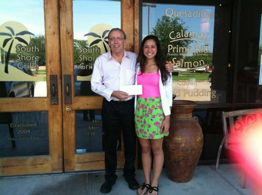 Mickey Wooten of the South Shore Grille and Meghan Mistry of Clear Falls High. Photo: SUBMITTED PHOTO
