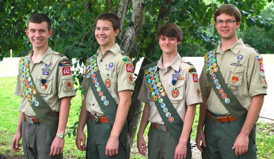 Awarded Eagle rank at a recent Court of Honor are Troops 642 scouts (from left) David Breunig, Ross Kimmel, Daniel Sweat and Michael Timte. Photo: Submitted