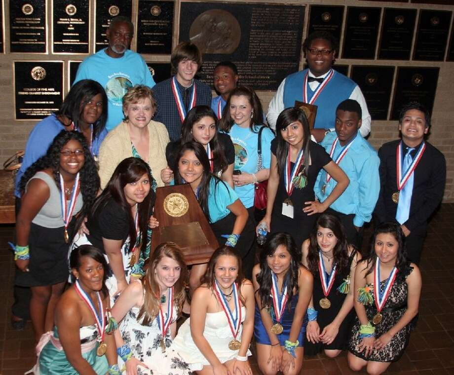 Hempstead High School won the 2A state one-act play championship with their performance of Moby Dick Rehearsed in the 85th Annual State UIL One Act Play Contest in Austin. HISD Supt. Gene Glover and HHS Principal Dr. Sharon Young were on hand following the awards ceremony to congratulate Director Gloria McLuckie and her students for the first OAP state championship in the school's history. Pictured from the left are (front) Keyin Scott, Hannah Trojan, Christina Wawarofsky, Sylvia Ayala, Ashley Rahdarian, Yessica Barcenas, (middle) Brianna Graves, Tommesha Polk, Cindy Dominguez, Gloria McLuckie, Debbie Dominguez, Karina Alvarez, Dr. Sharon Young, Abigail Flores, Telvin Ragston, Gabriel Arias, (back row) Gene Glover, Chris Frey, Tribete Smith and Anthony Jessie.