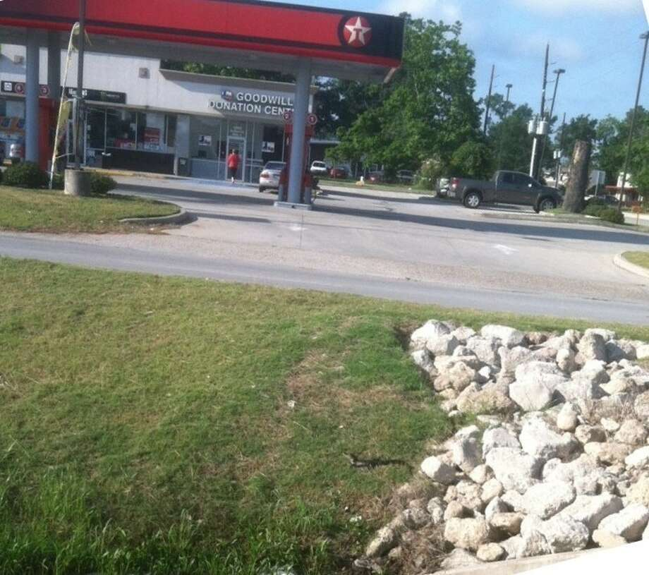 A baby alligator, seen here in the lower portion of the photo next to the line of rocks, was spotted and photographed on June 7 at the intersection of Russell Palmer Rd. and Northpark Dr. The photographer, Rob Johnson, estimated that it was two feet long. Photo: Submitted Photo