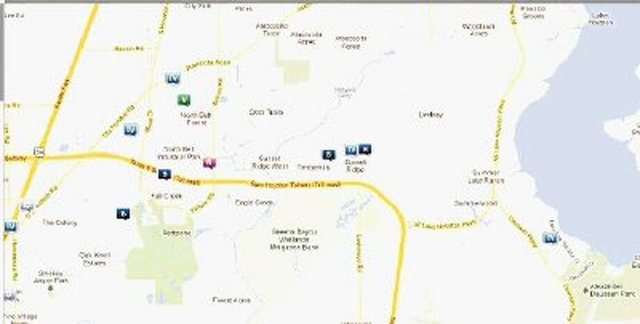 Snapshot of law enforcement activity in unincorporated Humble March 16-22. Legend: B - Burglary; R - Robbery; V - Stolen vehicle; TV - Theft from vehicle (BMV)