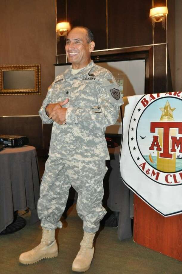 Highly decorated General Ramirez's presentation to the Bay Area Club was laced with humor and facts about A&M's Corps of Cadets and their accomplishments Photo: JACKIE WELCH
