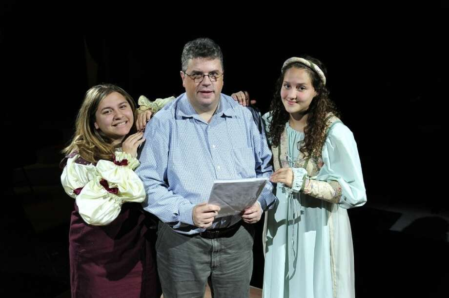 "Cast members of San Jacinto College's historic show ""Three Aspects of Humor"" include, from left, The Narrator (Lauren Ayala of La Porte), professor Dr. David LeMaster (director), and a Fairy (Daniella Heysquierdo of Pasadena. Photo: ROB VANYA"