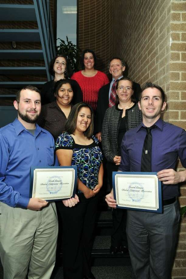 Students recognized by the San Jacinto College Board of Trustees include, from left (front row): Anthony Carbone, Natalie Cantu, and Adam Guevara; (second row): Angie Langdon, and Tanja Carmichael. SJC staff members supporting the students include (back row) student life coordinators Ellie Meyer and Amanda Rose, and Dr. Brook Zemel, vice president of student development.