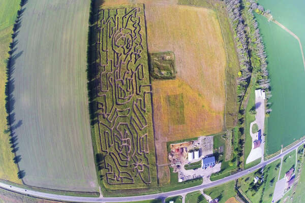 Green Acre Landscaping of Bad Axe has opened its first corn maze on weekends at 236 Pigeon Road in Bad Axe — as seen in this aerial view taken from a drone. The maze is open from 1 p.m. to 10 p.m. Saturdays and noon to 5 p.m. Sundays. Weekday groups will be accommodated by appointment. Along with a professionally designed maze, visitors can enjoy a bounce house, kids games and prizes. Hot dogs, apple cider, popcorn, donuts and hot chocolate are available. For more info, call 989-269-6061. (Submitted Photo)