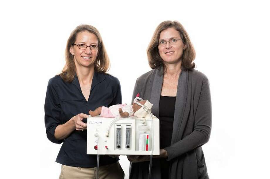 Bioengineering professors Rebecca Richards-Kortum (left) and Maria Oden received the $100,000 Lemelson-MIT Award for Global Innovation for their work, including the bubble CPAP machine.
