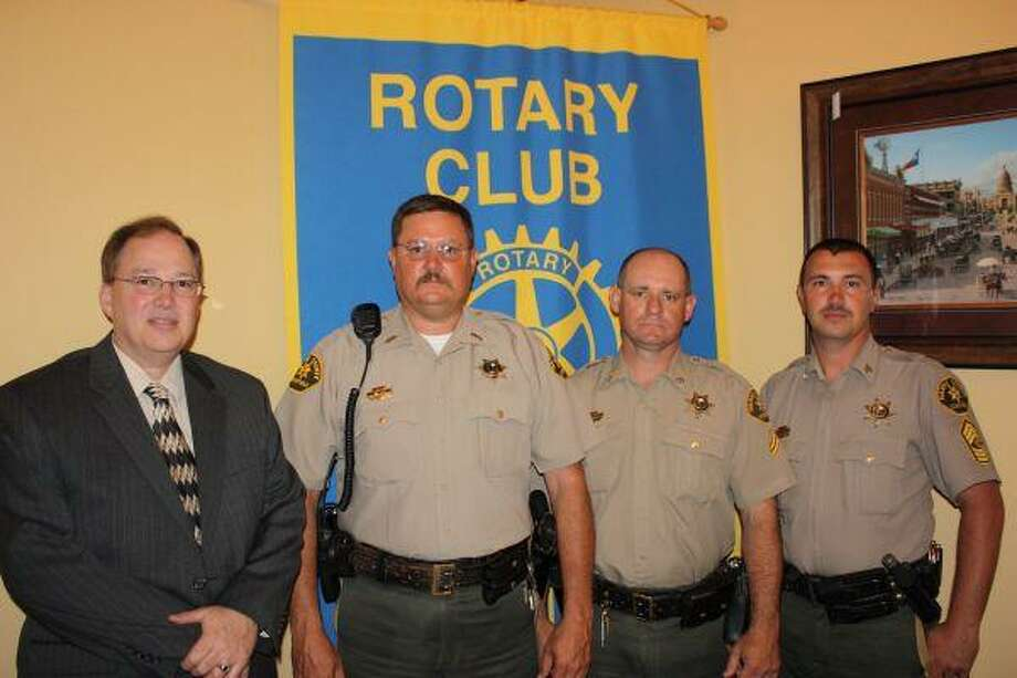 Harris County Precinct 3 Constable Deputies visited the Dayton Rotary Club on April 29. The deputies are contracted through Dayton ISD to patrol and offer law enforcement for the district. Shown from left to right are Dayton ISD Superintendent Greg Hayman, Lt. Rick Larkin, Cpl. Kevin Wilson and Sgt. Gregg Board.