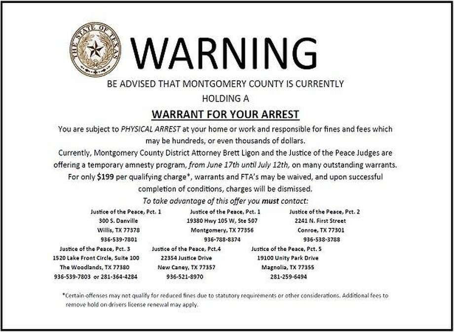 County officials are notifying warrant holders of their status through postcards sent in the mail.
