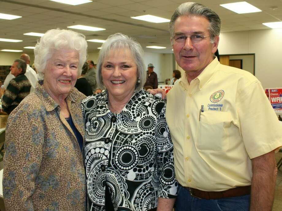 Maxine Morris, director of the Cleveland Senior Citizens Center, welcomes San Jacinto County Pct. 3 Commissioner Butch Moody and wife to the senior citizens' political meet and greet on Friday, March 23.