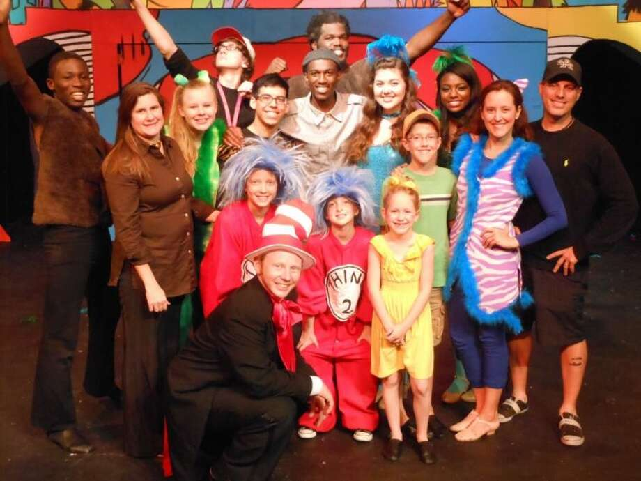 "Many of the cast and crew of Country Playhouse's production of ""Suessical"" have ties to the Memorial-Spring Branch area. Bottom: Kelly Harkins. Second row (from left): Chris Odeku, Madeline Townsend, Sarah Stinson, Charlotte Tinson, Lauren Townsend, Andrew Linhart, Stephanie Linhart and Bobby Linhart. Third row: Katie Newsom, Cristian Carillo, Mark Frazier, Caitlin Camacho, Morgan Rucker. Back row: Jack Rodgers and Daniel Ewetuya. Photo: Submitted"
