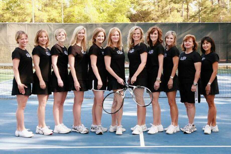 The Kingwood Country Club tennis team made up of Jill Wolocko, Anita Flematti, Jill Jones, Kelty Ferguson, Jill Weller, Christy Duncan, Tanya Robinson, Alice Jones, Mary Vosloh, Jill Curtis and Nancy Rivier-Rogers is looking forward to helping and hosting guests at the Courtside for Katy Hayes fundraiser April 22.