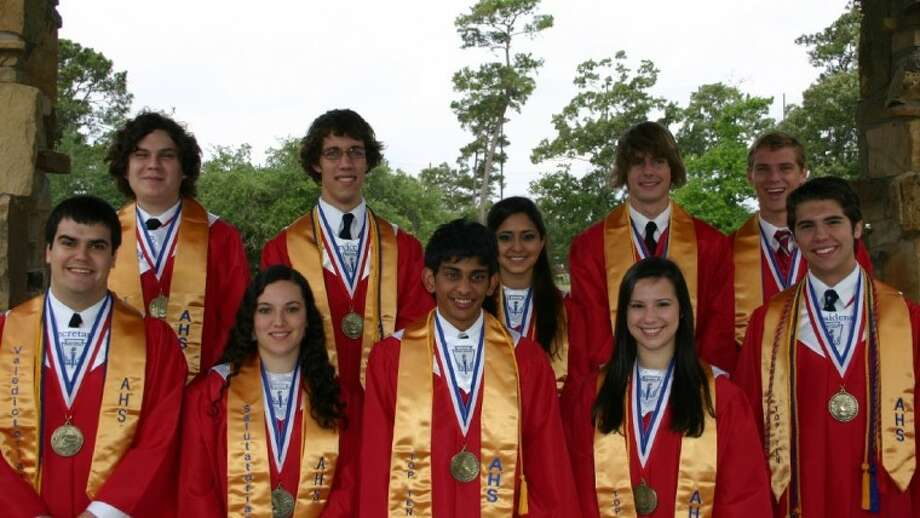Atascocita High School's Top 10 graduates from the Class of 2011 are, on the front row, from left, Adam Bowling, valedictorian; Anai Navarro, salutatorian; Shyam Bhakta, third; Kristie Garza, fourth; Jonathan Hastings, fifth; back row, Alexander Ventura, sixth; Kevin Gregory, seventh; Mahvish Danka, eighth; Matthew Thompson, ninth; and Ryan Zisman, 10th.