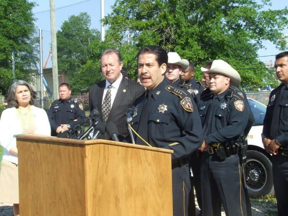 Harris County Sheriff Adrian Garcia announces the end of HCSO's hiring freeze and the addition of 100 deputies in the next year, along with several members of his executive team and deputies at HCSO's Tomball substation.