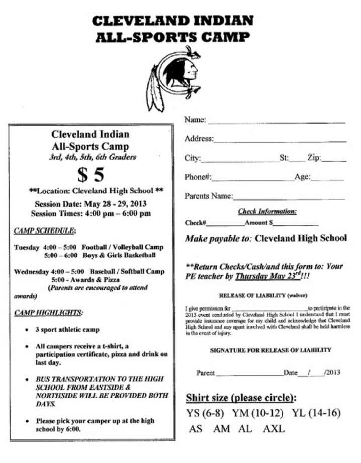 Sign-up flyer for Cleveland ISD All-Sports Camp. Photo: SUBMITTED IMAGE