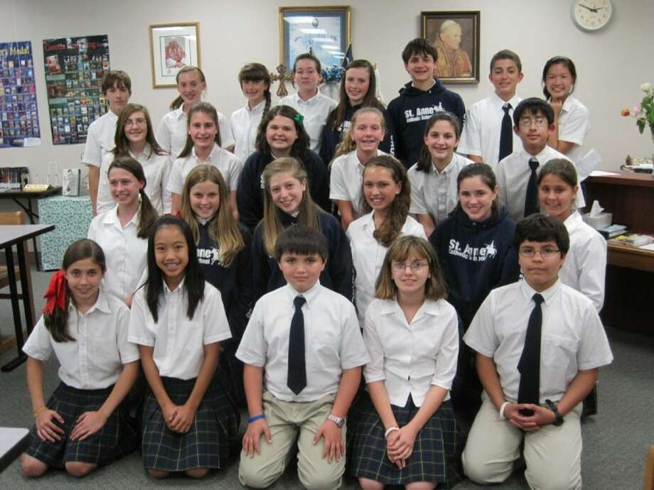 St. Anne Catholic School students who were named 2011 Lone Star State Scholars are (left to right): (front row) Ana De Salvidea, Amy Bui, Andrew Russell, Shelby Ward, Jairo Suarez; (second row) Erika Schulte, Lindsie Rogers, Ana Bravo, Angela Wolfson, Hannah Hoskins, Madelyn Kmiec; (third row) Bailey Sims, Sophia McCullough, Paige Hardin, Riley Van Ryan, Jenna Carter, Aaron Bui; and (back row) Hayden Wilkerson, Hannah Allen, Tabitha Talaber, Jenna Eslocker, Jordan Thomas, Sam Vitulli, Thomas Reynolds, Sophie Suico. Not pictured: Hunter Brooke and Kade Stewart.